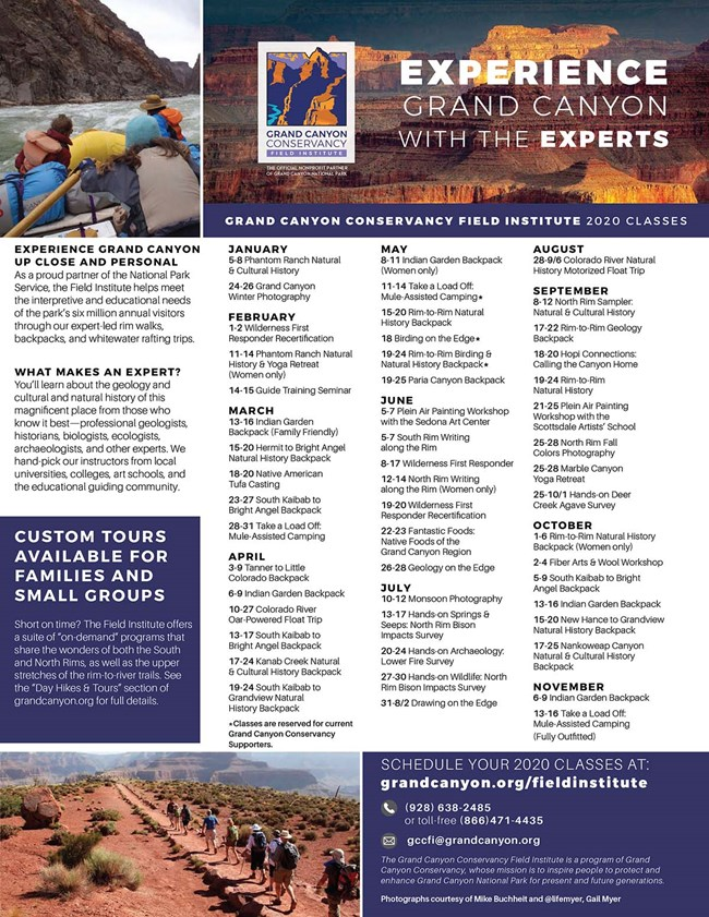Field Institute class schedule displays 11 months of 2020 class listing in 3 columns of text. Two small photos illustrate hiking and rafting activities.