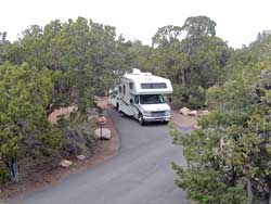 Recreational vehicle in a family site at the Desert View Campground