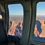 View out the window of tour aircraft at Grand Canyon