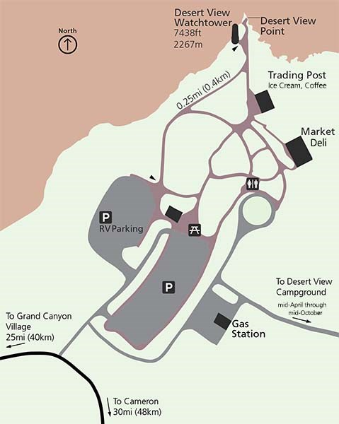 Map of Desert View settlement showing parking lots, footpaths and buildings, in relation to the canyon rim.