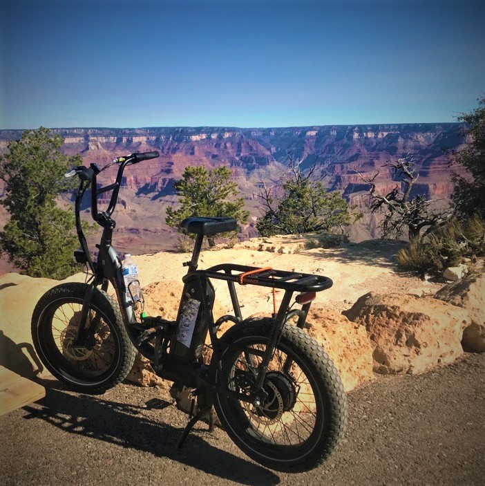 An e-bike on the rim of the canyon