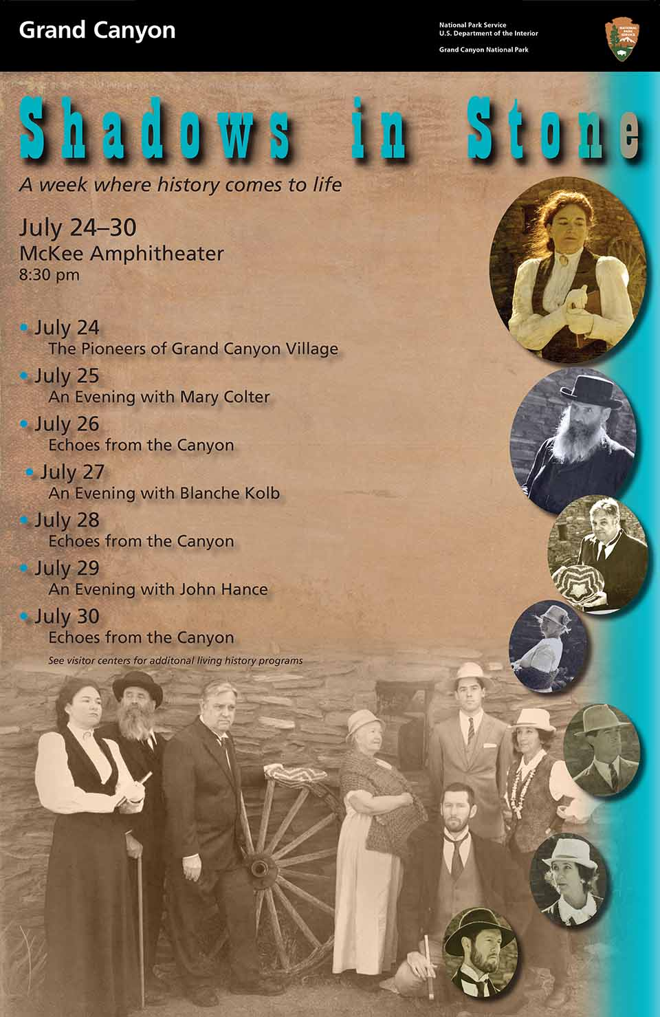 Shadows in Stone - Living history week poster has each day's schedule listed on the left with individual oval-shaped photos of the actors on the right. At the bottom is a group shot of all seven actors. The schedule in text format is displayed above.
