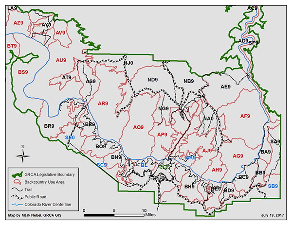 map of Grand Canyon backcountry use areas, see link below for a poster-size topographic use area map