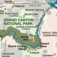 Plan Your Visit Grand Canyon National Park Us National Park - Grand-canyon-on-a-us-map