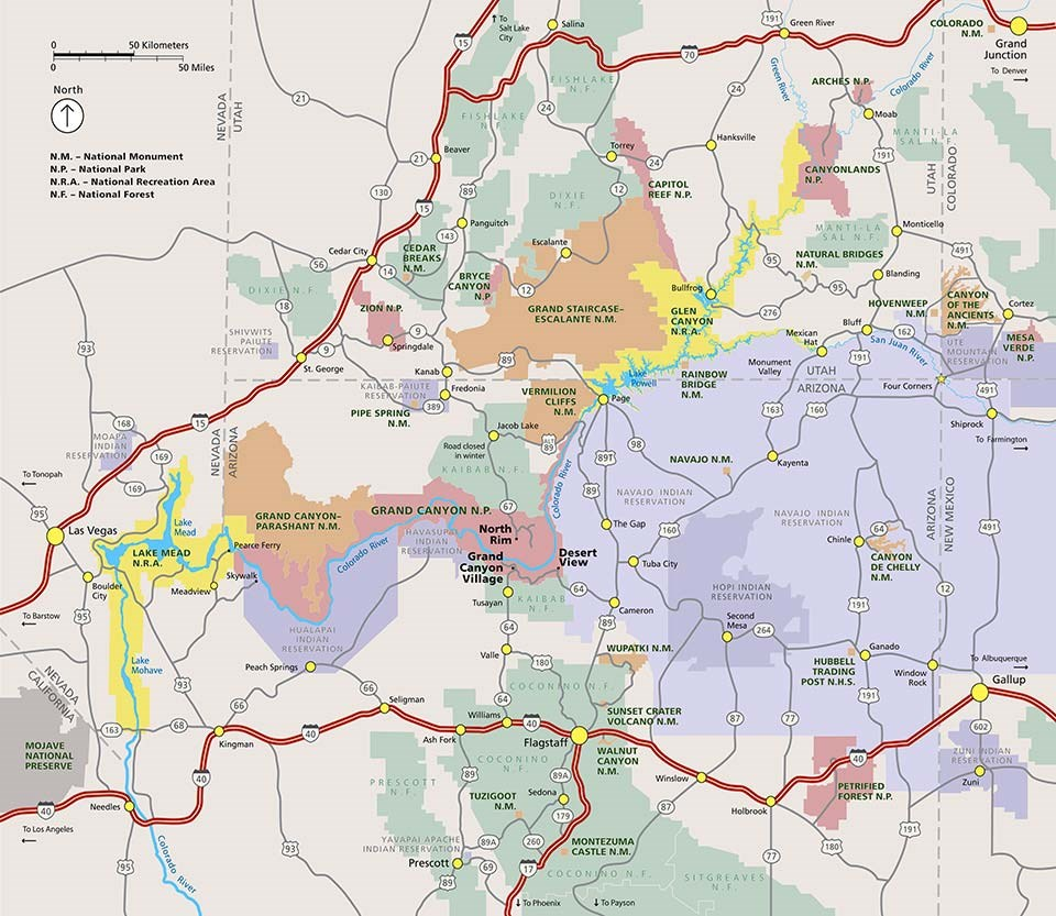 Grand Canyon Area Map: Shows major highways and public lands.