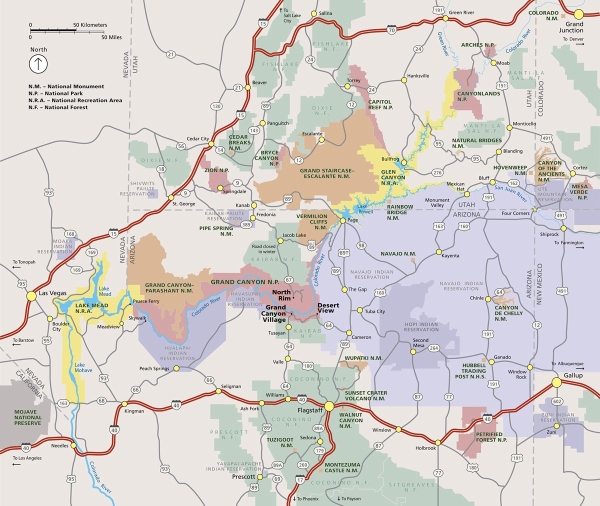Grand Canyon Area Map: Shows major highways, cities, towns and tribal and public lands.