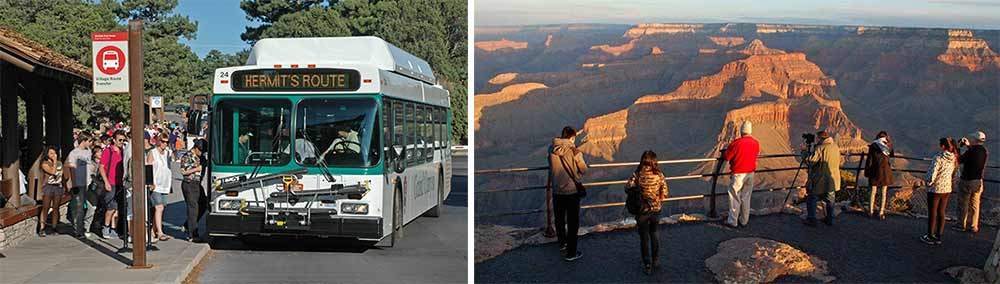 Left: Hermit Road shuttle boarding. Right: Scenic view of Grand Canyon from Hermit Road early in the morning.