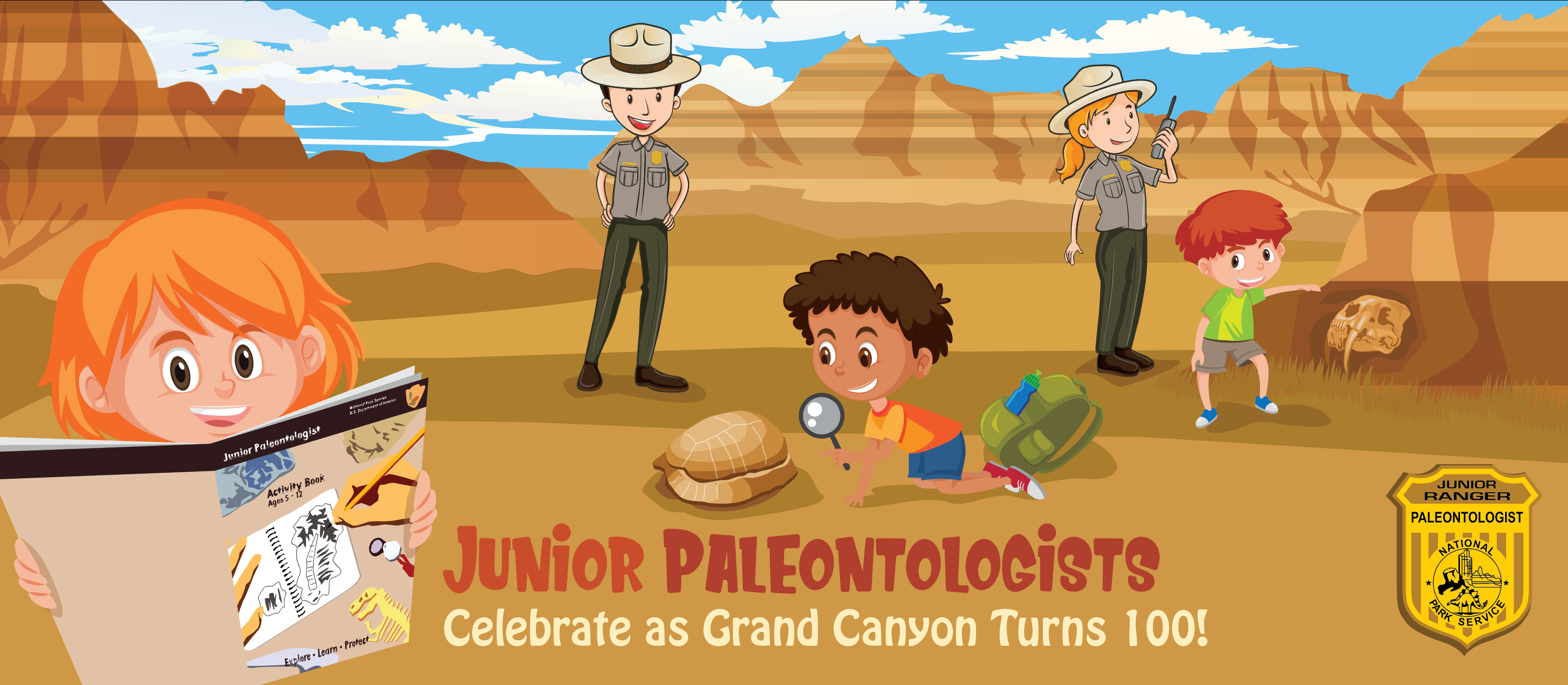 Cartoon children discover fossil while a park ranger overlooks