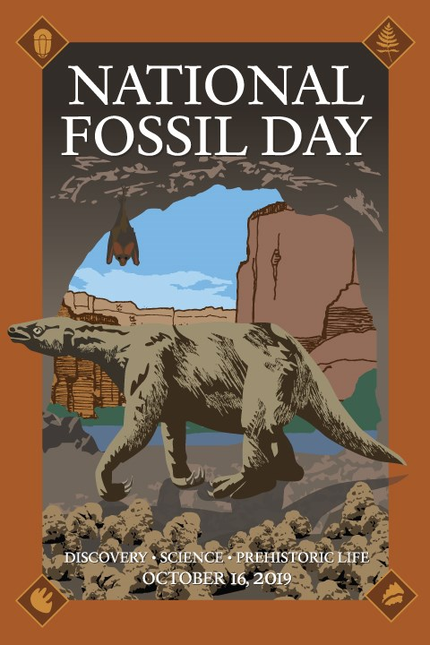 A large mammal, an extinct ground sloth walks across the entrance to a cave overlooking Grand Canyon. The words National Fossil Day October 16, 2019 and Discovery, Science Prehistoric Life adorn the edges