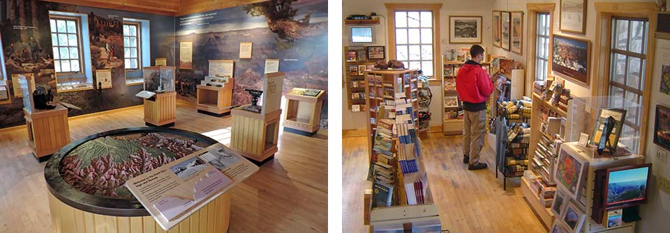 Two interior photos in North Rim Visitor Center. Left: Exhibit area with round relief map in foreground. Right: Bookstore and gift shop.