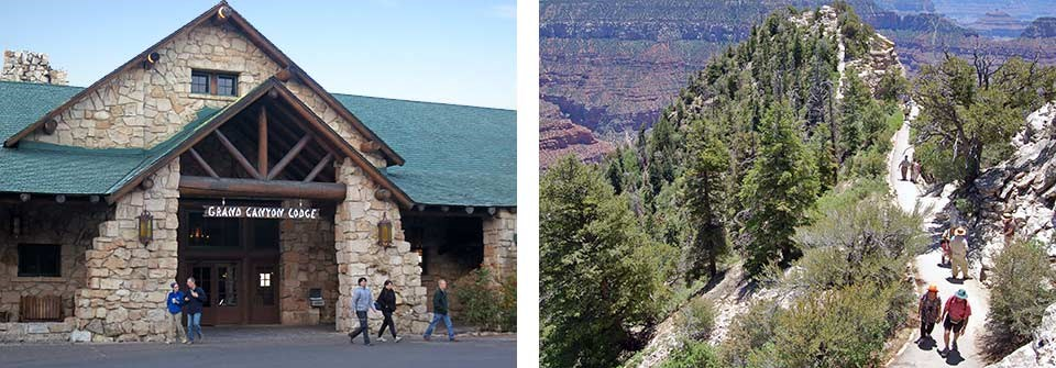 Left: front entrance to rustic Grand Canyon Lodge features log and stone construction. Right: looking down Bright Angel Point Trail as it recedes into the distance; tiny people walking on trail.