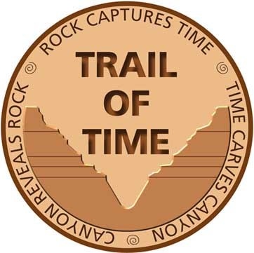 Logo within a circle, Centered text, Trail of Time, with text around circumference reading: Rock Captures Time, Time Carves Canyon, Canyon Reveals Rock.