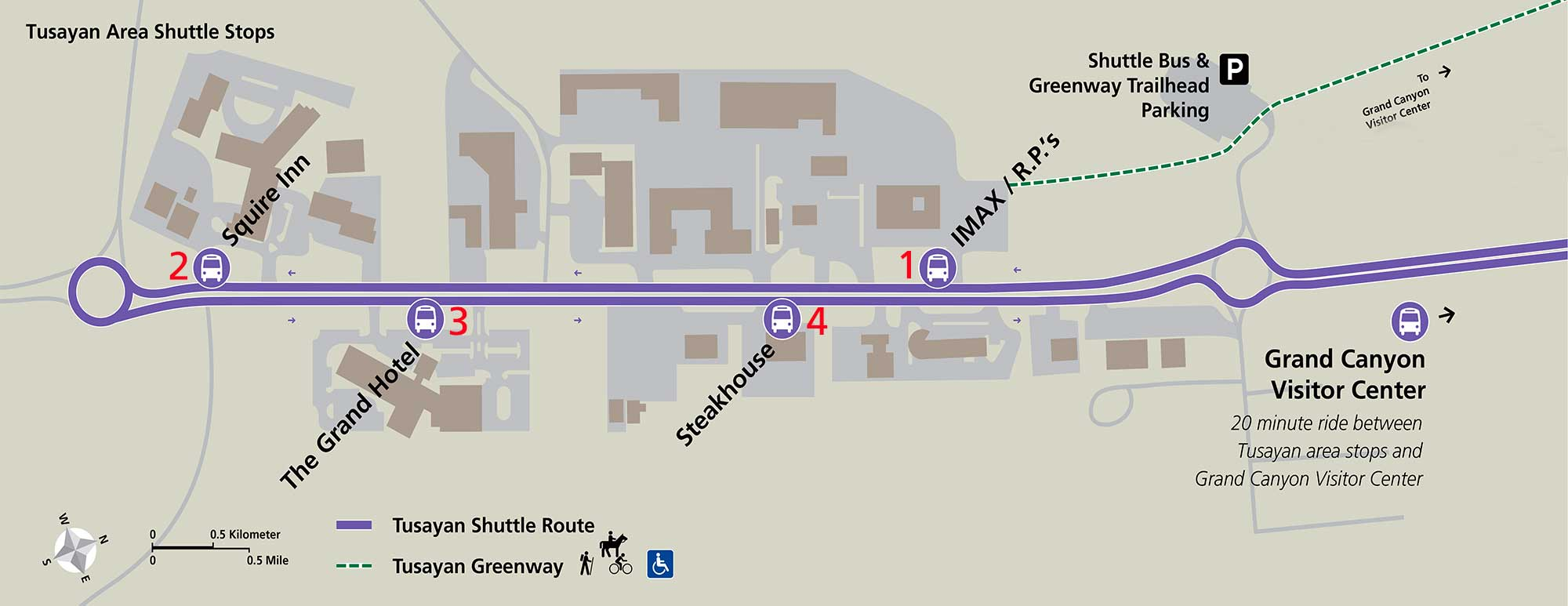 Tusayan Route (Purple) shuttle map shows the four bus stops, buildings shown in brown and parking lots in purple.