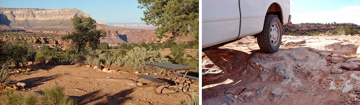 left: typical campsite with table in Tuweep campground. right: rugged Tuweep campground road conditions