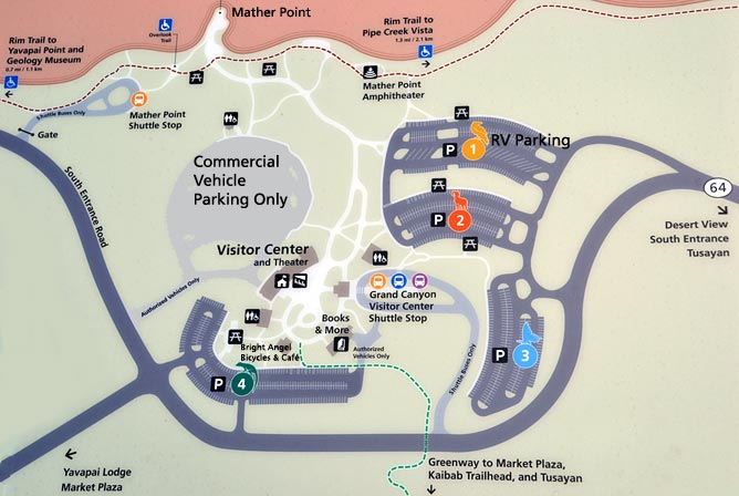 Grand Canyon Visitor Center Parking Map