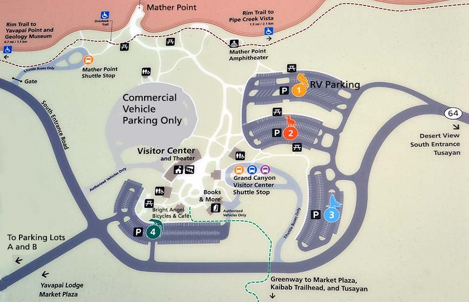 Map showing Visitor Center with parking lots 1-4 and Shuttle Bus Stop