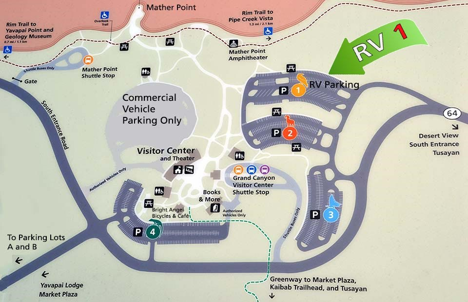 Map showing Grand Canyon South Rim Visitor Center with parking lots 1-4 and Shuttle Bus Stop