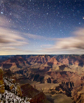 View of Grand Canyon from Mather Point just as the stars are beginning to come out. Photo Courtesy of  Tyler Nordgren, University of Redlands.