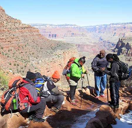 Hikers taking a break on Bright Angel Trail.