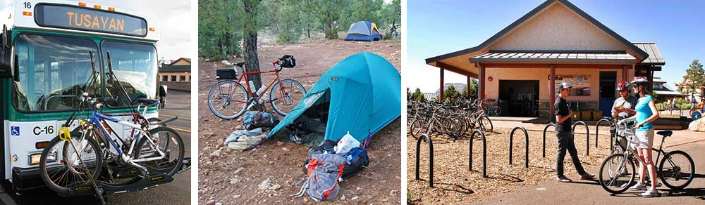 Three images, from left to right, park shuttle bus carrying several bicycles up front in an external rack. A bicycle in campsite with blue tent. Bicycle rental facility with attendant talking with two customers.