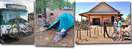 bicycle rack on bus, bicycle campsite, bicycle rental facility