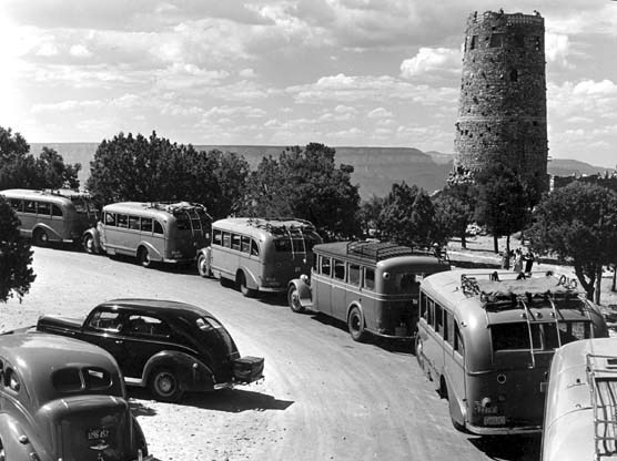 Fred Harvey Tour Busses Parked In Front Of The Desert View Watchtower. Circa 1938 NPS
