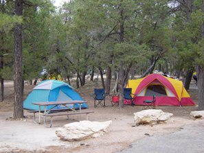 colorful tents in a family campsite at Mather Campground