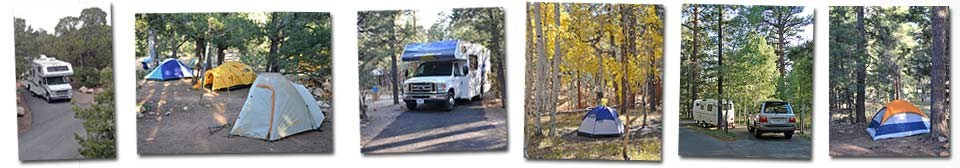 Grand Canyon National Park Campground snapshots showing RV and tent sites on the South Rim and North Rim.