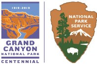 left: Grand Canyon National Park Centennial Logo shows canyon gorge and river. On the right, a NPS arrowhead with tree mountain, and bison.
