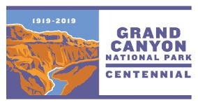 Logo with stylized graphic of river cutting through cliffs in a desert landscape. text: 1919-2019, Grand Canyon National Park Centennial.