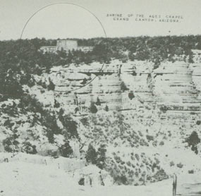 shows proposed placement of Shrine on the rim of the canyon