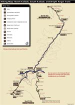 map showing Grand Canyon corridor trails and campgrounds.