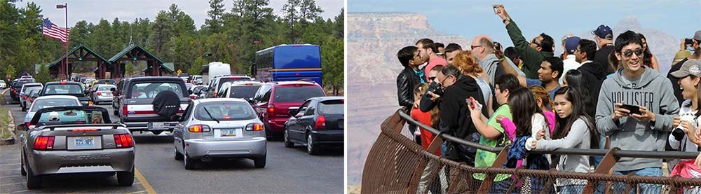 photo on left shows line of cars entering the park. Photo on right shows group of people at overlook