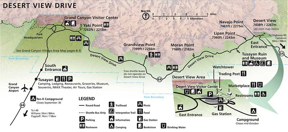 Desert View Drive Map From Grand Canyon Village On The Left To Desert View On The