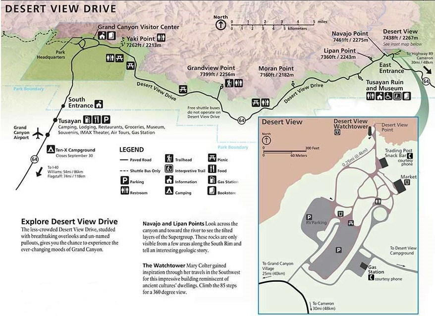 Arizona Points Of Interest Map.Maps Grand Canyon National Park U S National Park Service