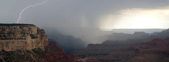 Lightning strike on the South Rim as seen from Yavapai Museum of Geology