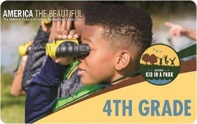 The 4th Grade Every Kid In a Park pass, depicting a child looking through binoculars