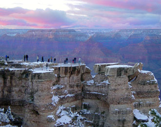 Viewing canyon sunset from Mather Point in winter