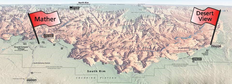 Shaded relief map with red flags that show the location of Mather and Desert View Campgrounds, the two NPS campgrounds on the South Rim of the park.