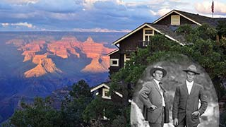 Sunset light in Grand Canyon seen from Kolb Studio. Historic photo of the brothers is superimposed on the right.