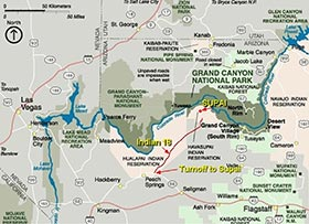 Grand Canyon Area Map showing road leading into Supai.