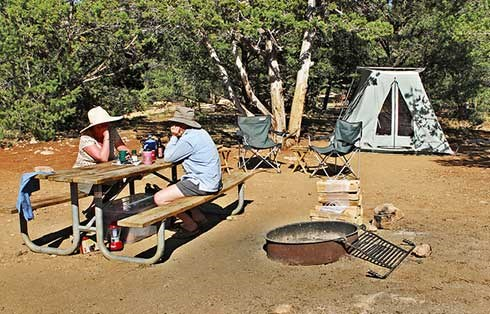 two people sitting at table in Mather Campground. Tent in background