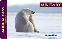 front side of military park pass showing mother and bacy polar bear in snowy landscape
