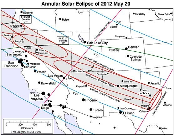 NASA Eclipse Map May 20 2012