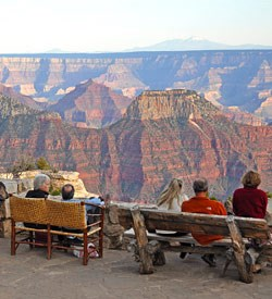 Viewing the canyon from the patio of Grand Canyon Lodge.