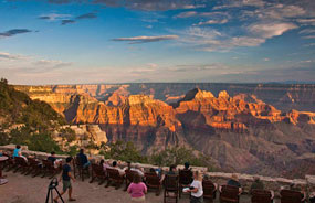 view from patio of grand canyon lodge on the north rim