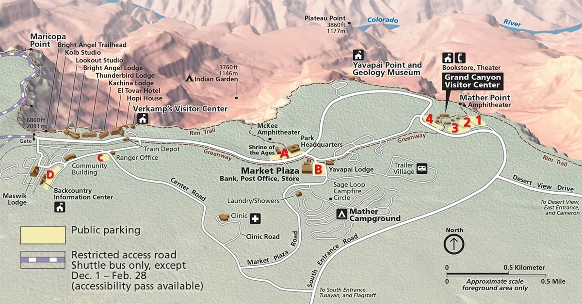 Grand Canyon village parking map shows parking lots 1-4 and A-D