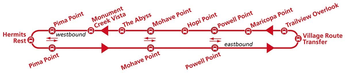 Hermit Road Route (red) shuttle bus loop map