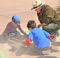 Kid's sifting activity at Archaeology Day.