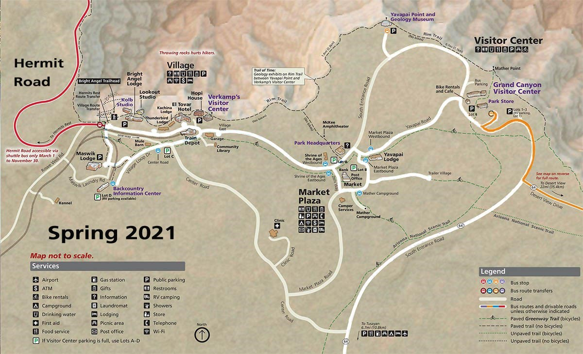 Map showing Grand Canyon Village and Vicinity showing the two shuttle bus routes that are in service between March 1 and May 28, 2021.